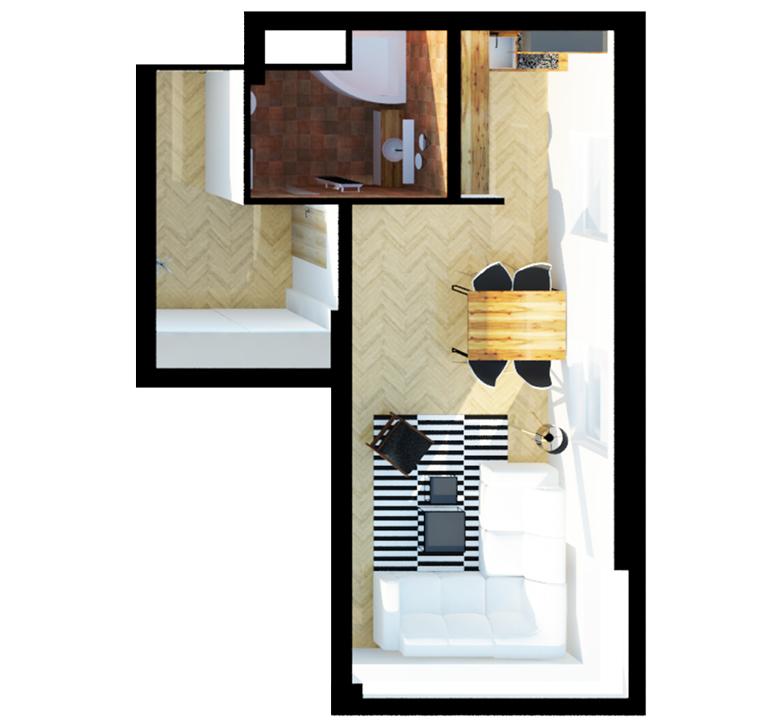 vizualizace půdorysu bytu 1+kk