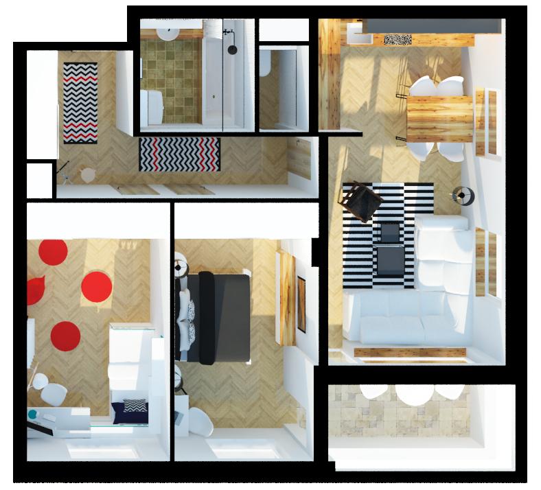 vizualizace půdorysu bytu 3+kk
