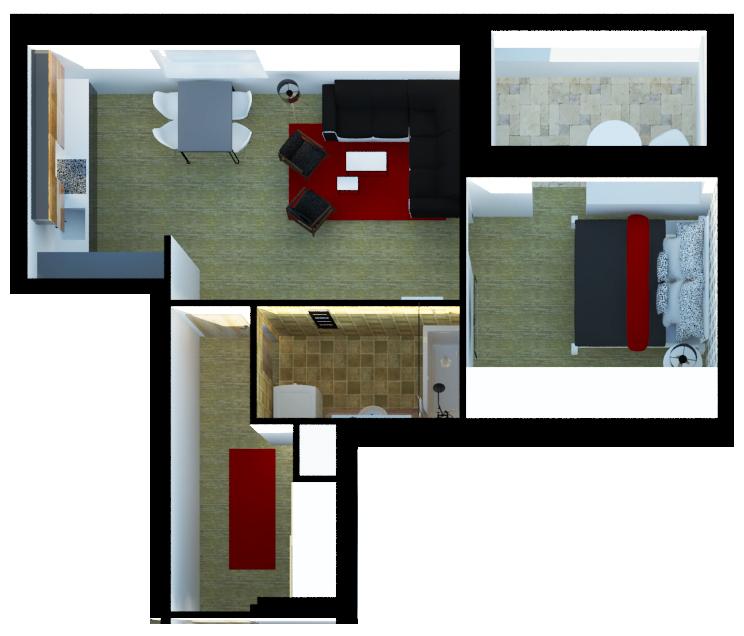 vizualizace půdorysu bytu 2+kk
